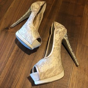 Bebe Blush Ivory Rhinestone Heel Pumps